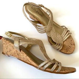 4bb4892c8558 Kelly   Katie Gold   Cork Low Wedges Sandals 6.5